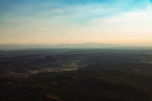 sky aerial view of mountains landscape