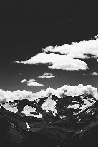 photo black-and-white grayscale photo of mountain and clouds mountain free for commercial use images