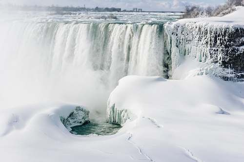 snow landscape photo of waterfall and snow during daytime niagara falls