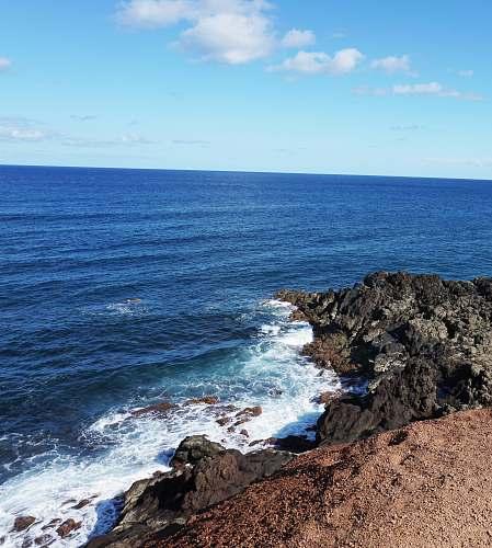 outdoors sea splashing on sea promontory