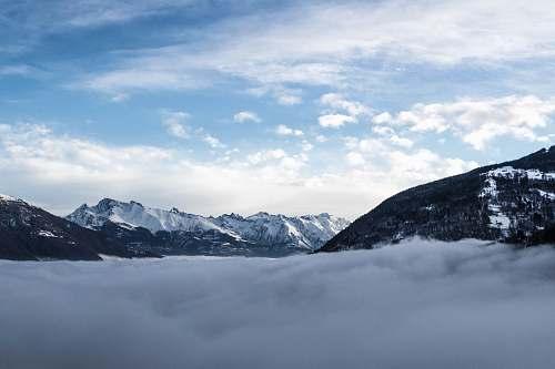 mountain snowy mountain and fogs glacier