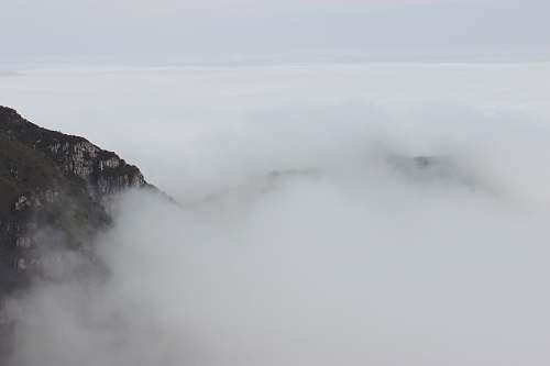 grey white cloud beside mountain fog