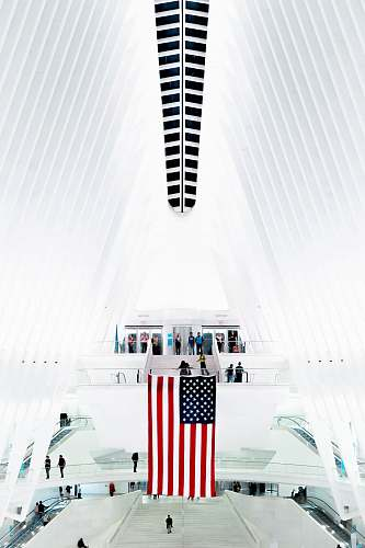 united states flag of U.S.A. inside white structure white