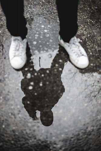 human reflection of person standing on ground person