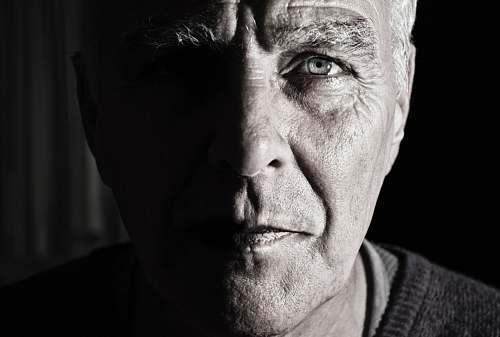 portrait grayscale photography of men face