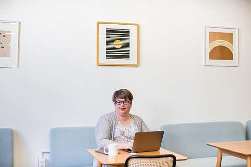 human woman using laptop computer sitting