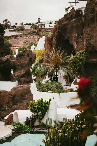 outdoors cliff with man made garden at daytime lagomar