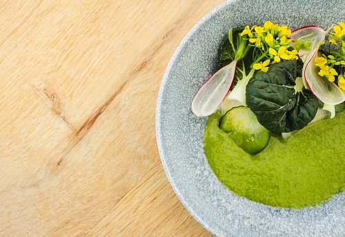food dish on gray ceramic bowl vegetable