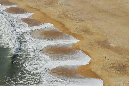 nazaré aerial photography of sea waves beach