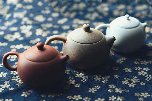 teapot three assorted-color teapots pot