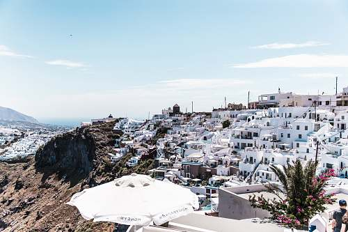 greece aerial photography of white painted houses town