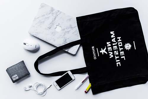 branding flat lay photography of tote bag beside iPhone and wallet gear