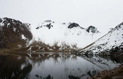 mountain icy mountain lake lake