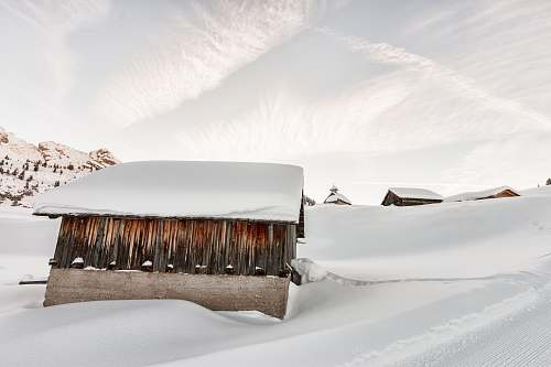 nature photo of shed covered with snow winter
