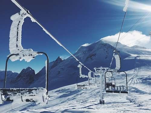 outdoors zip line on mountain at winter season sport
