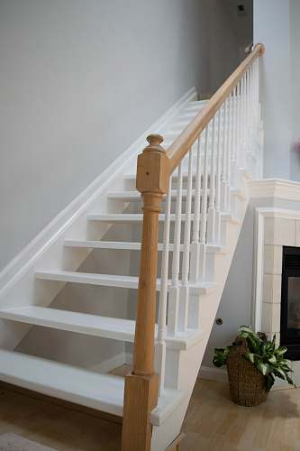 hardwood white and brown stairs wood
