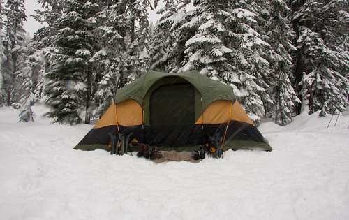 camping tent on snow field camp