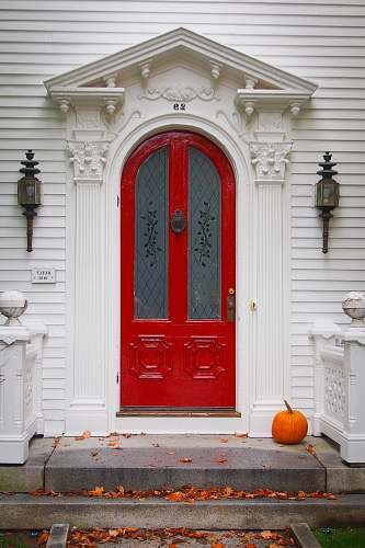 pumpkin white and red wooden concrete house produce
