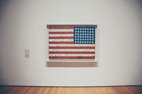 flag U.S.A. flag on wall with frame american flag