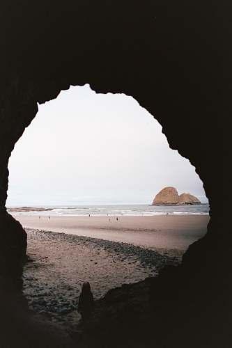 shoreline cave facing ocean nature