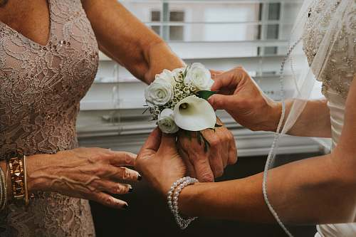 windsor woman put white flowers on woman's hand canada