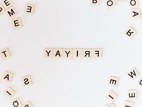 text Friyay scrabble pieces on white surface number