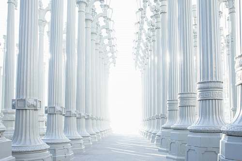architecture photography of white wall lot column