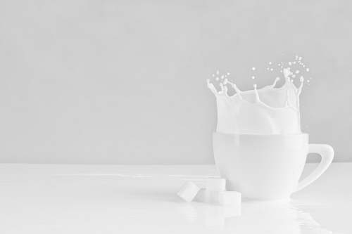 black-and-white sugar block dropped on white cup with milk grey