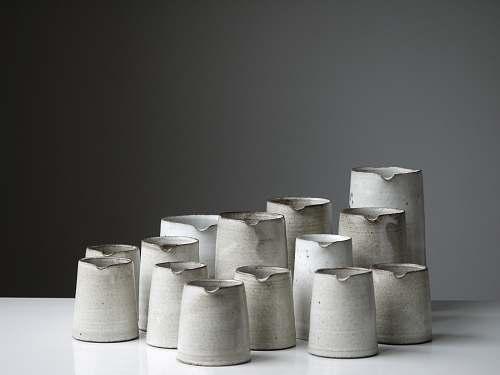 grey white pitcher lot turning earth ceramics