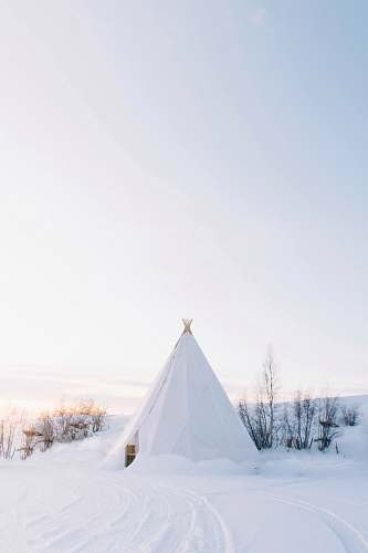 tent white tipi tent covered with snow nature