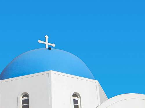 building blue and white painted church building dome