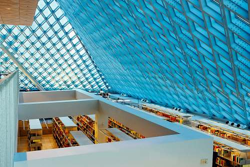 library blue glass roof interior design