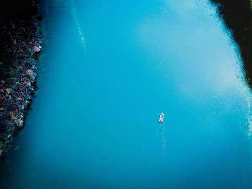 water aerial photo of boat sailing on sea sea life