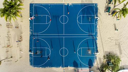 sand aerial photography of basketball court sport