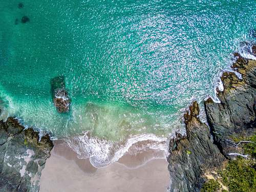 ocean aerial photography of beach water