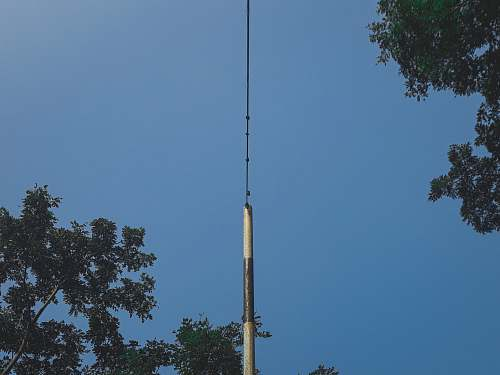 antenna black and white pole near trees during day electrical device