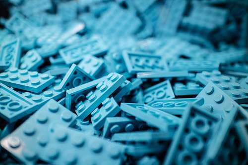 game blue building block lot lego