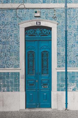 door blue wooden door closed with 46 sign portugal