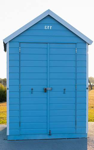 nature blue wooden tool shed outdoors