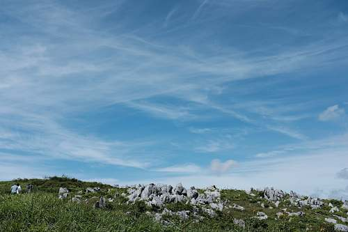nature green hill with rocks under white clouds and blue sky during daytime outdoors