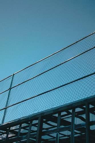 teal grey metal railings chain