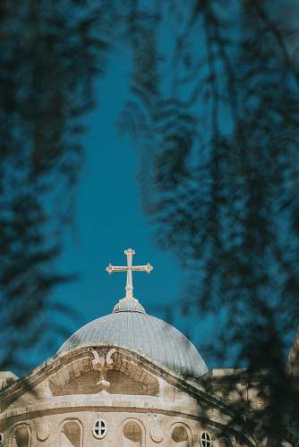 dome low-angle photography of white and blue church architecture
