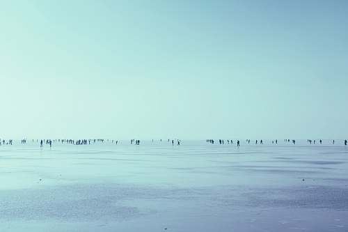 winter people walking in seashore over the horizon during daytime snow