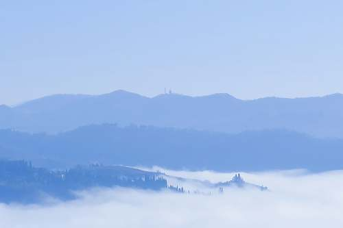 outdoors sea of clouds across mountains nature
