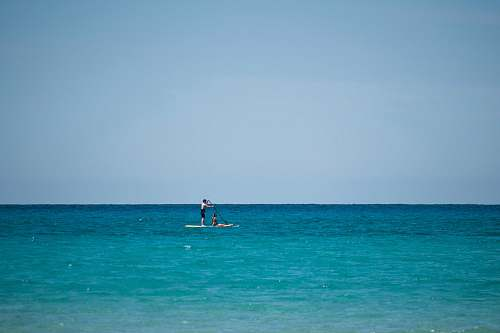 transportation topless man riding paddle board vehicle