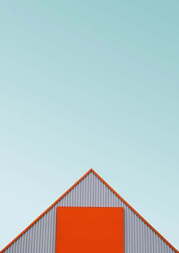 triangle white and orange house roof architecture