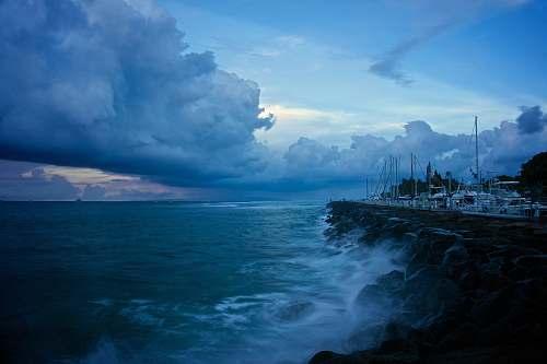 ocean ocean wave under cloudy sky coast