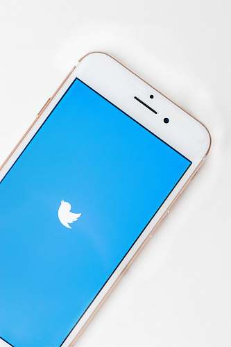 mobile phone gold Apple iPhone 6s displaying Twitter logo electronics