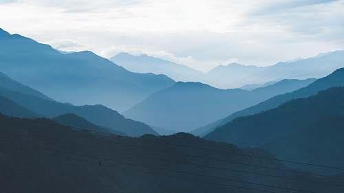mountain mountains covered with fogs mountain range