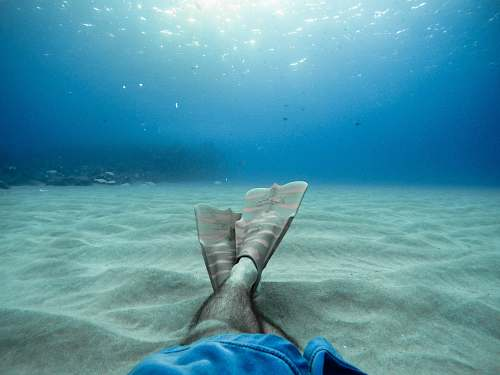 water person wearing flippers diving on sea underwater